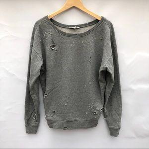 Express crew neck distressed sweatshirt